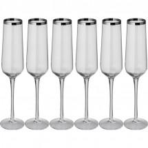 Set aus 6 Champagnergläsern - transparent