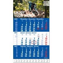 3-Monatsplaner Hit, blau, mit Jahresübersicht