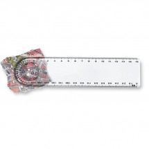 Lineal mit Lupe/Winkelmesser LASTA - transparent