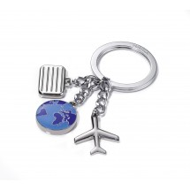 Schlüsselanhänger WELTENBUMMLER - blau, silber