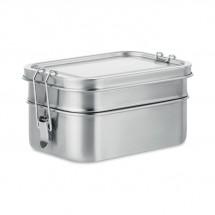 DOUBLE CHAN Lunchbox aus Edelstahl mattsilber