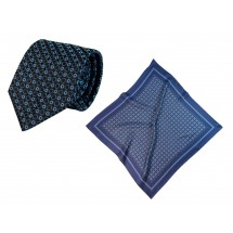 Set (Krawatte, Reine Seide + Tuch, Reine Seide Twill, ca. 53x53 cm) - blau