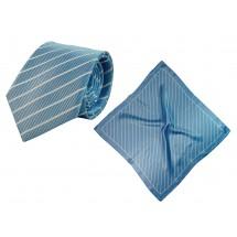 Set (Krawatte, Reine Seide + Tuch, Reine Seide Satin, ca. 53x53 cm) - hellblau