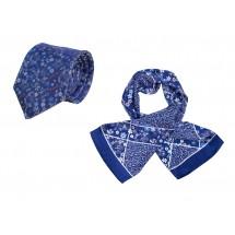 Set (Krawatte, Reine Seide + Schal, Reine Seide Satin, ca. 27x140 cm) - blau