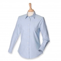 Ladies Classic Long Sleeved Oxford Shirt - Blue Oxford