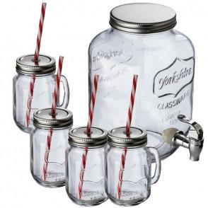 Set aus Getränkespender und 4 Glaskrügen