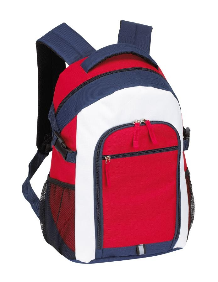Backpack Marina 600D, white/blue/red