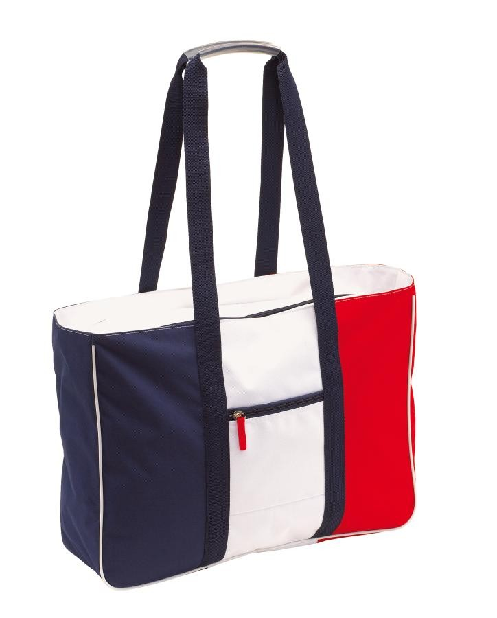 Beach bag, 600D, Marina blue white/red