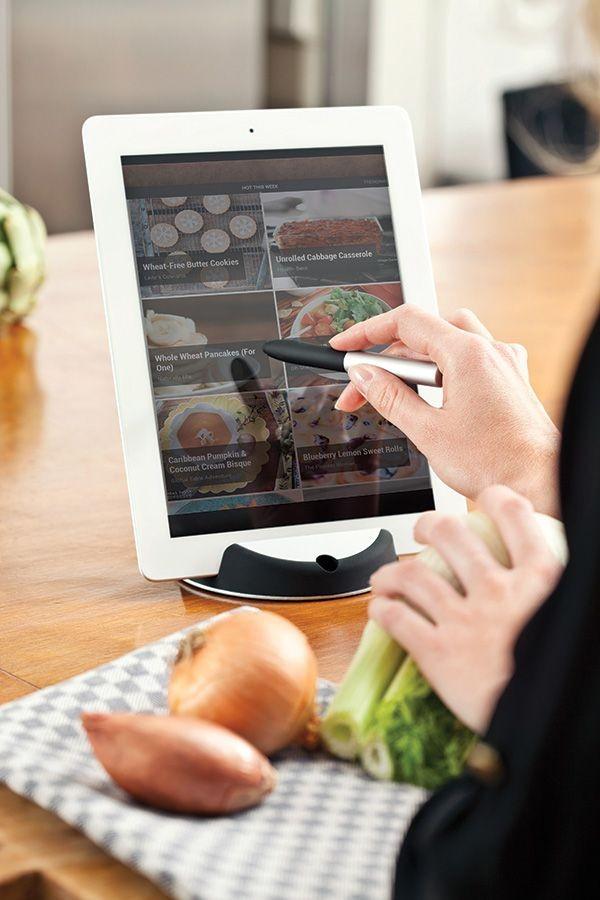 Chef tablet standaard met touchpen, zwart/zilverkleurig, View 7