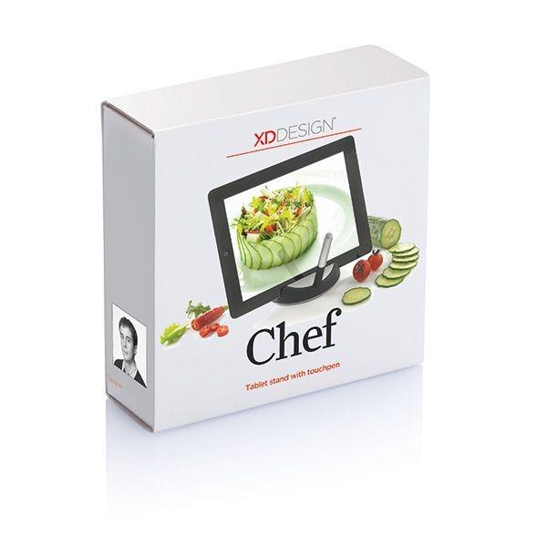 Chef tablet standaard met touchpen, zwart/zilverkleurig, View 6