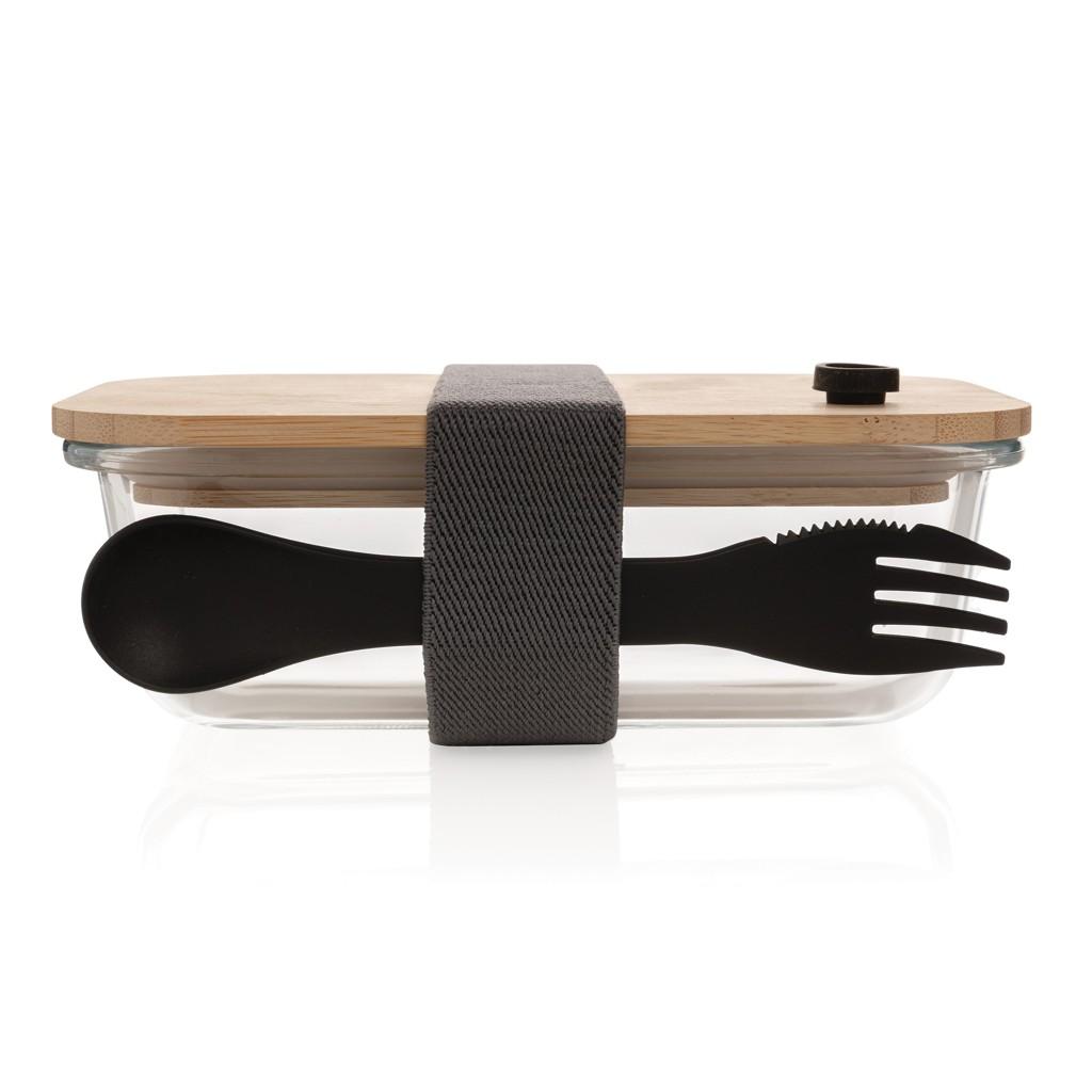 Glazen lunchbox met bamboe deksel, View 2