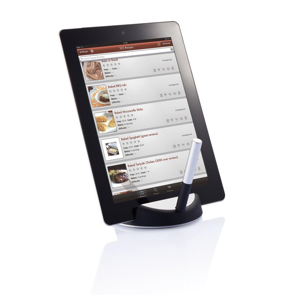 Chef tablet standaard met touchpen, zwart/zilverkleurig, View 9
