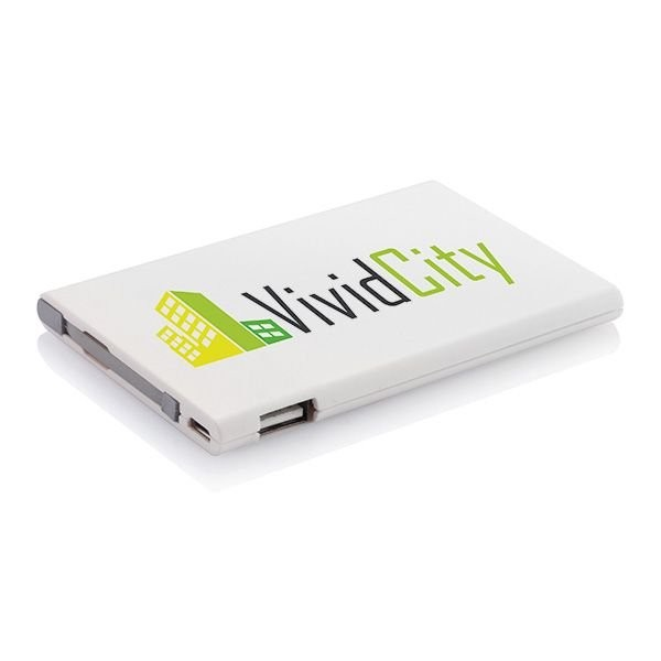 2500 mAh powerbank, wit/grijs