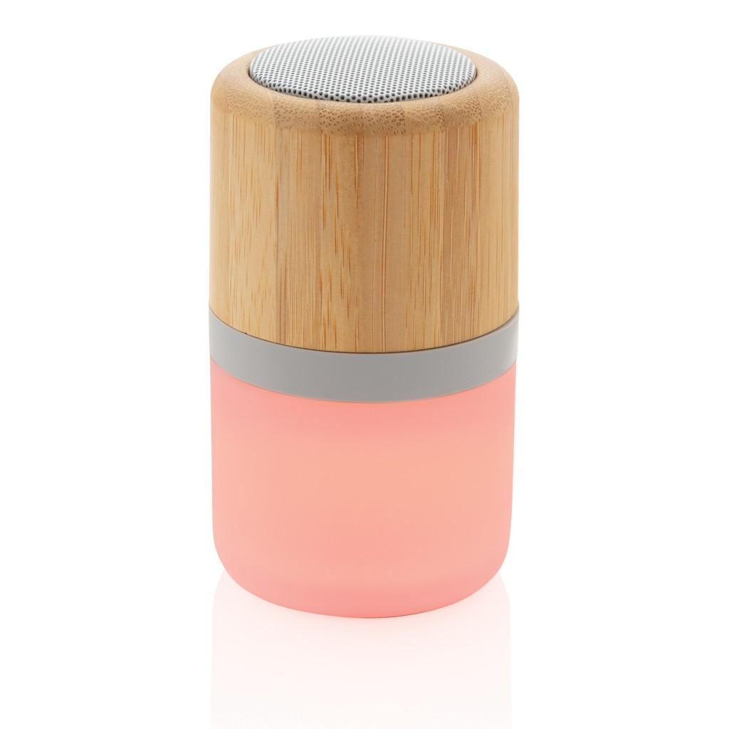 Draadloze bamboe 3W speaker met sfeerlicht, View 5