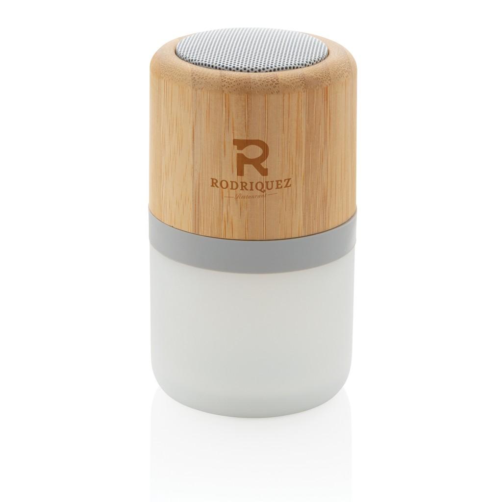 Draadloze bamboe 3W speaker met sfeerlicht, View 8