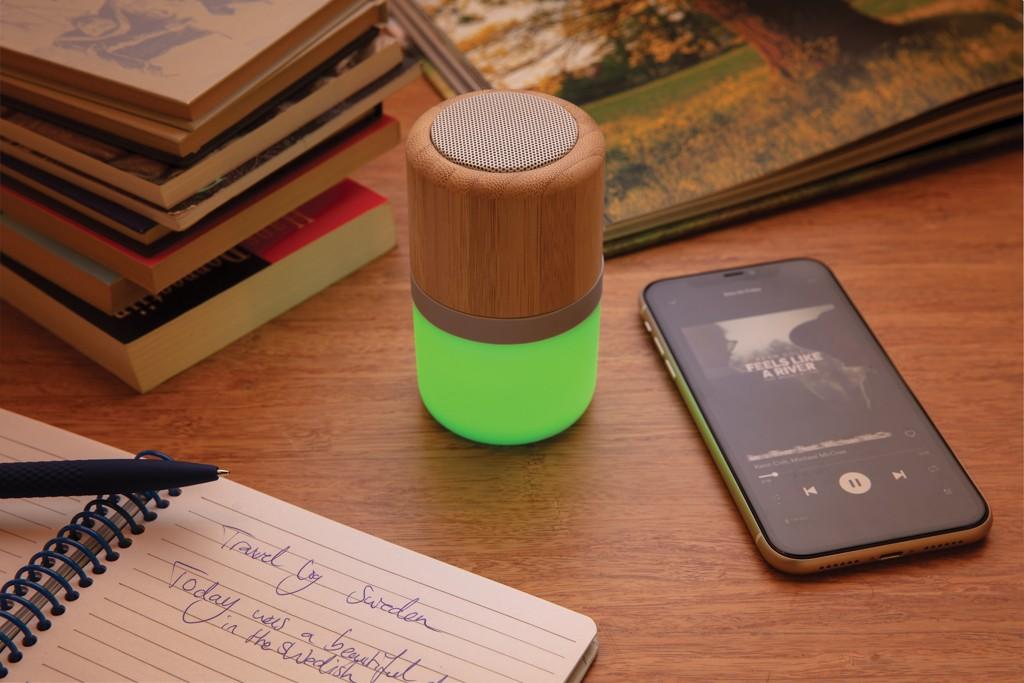 Draadloze bamboe 3W speaker met sfeerlicht, View 9