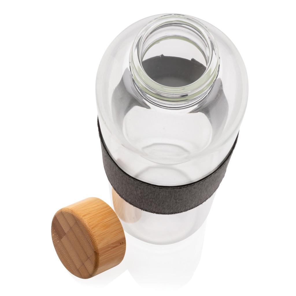 Impact borosilicaat glazen fles met bamboe deksel, View 6