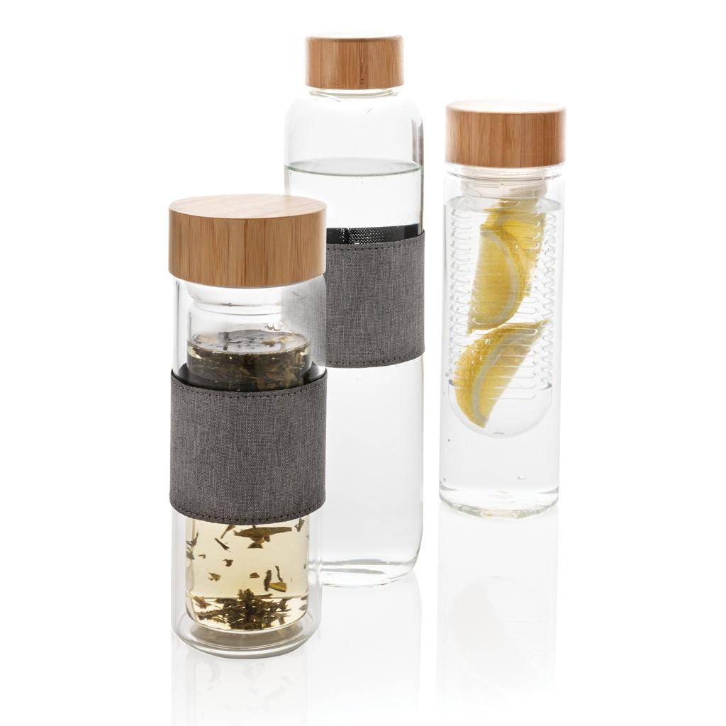 Impact borosilicaat glazen fles met bamboe deksel, View 9