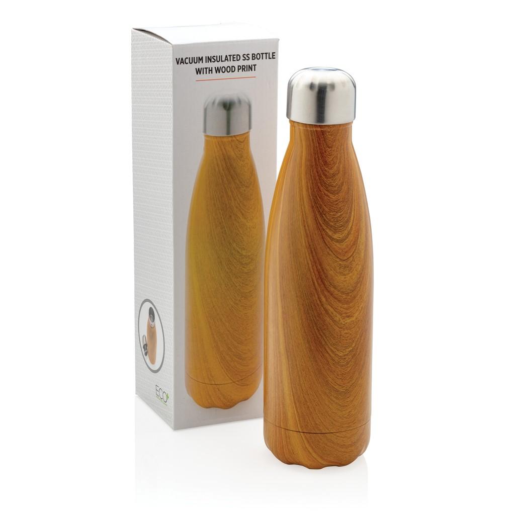 Vacuüm roestvrijstalen fles met houtdessin, View 4