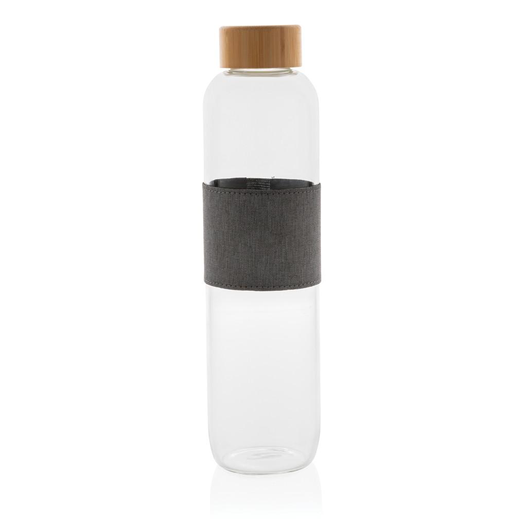 Impact borosilicaat glazen fles met bamboe deksel
