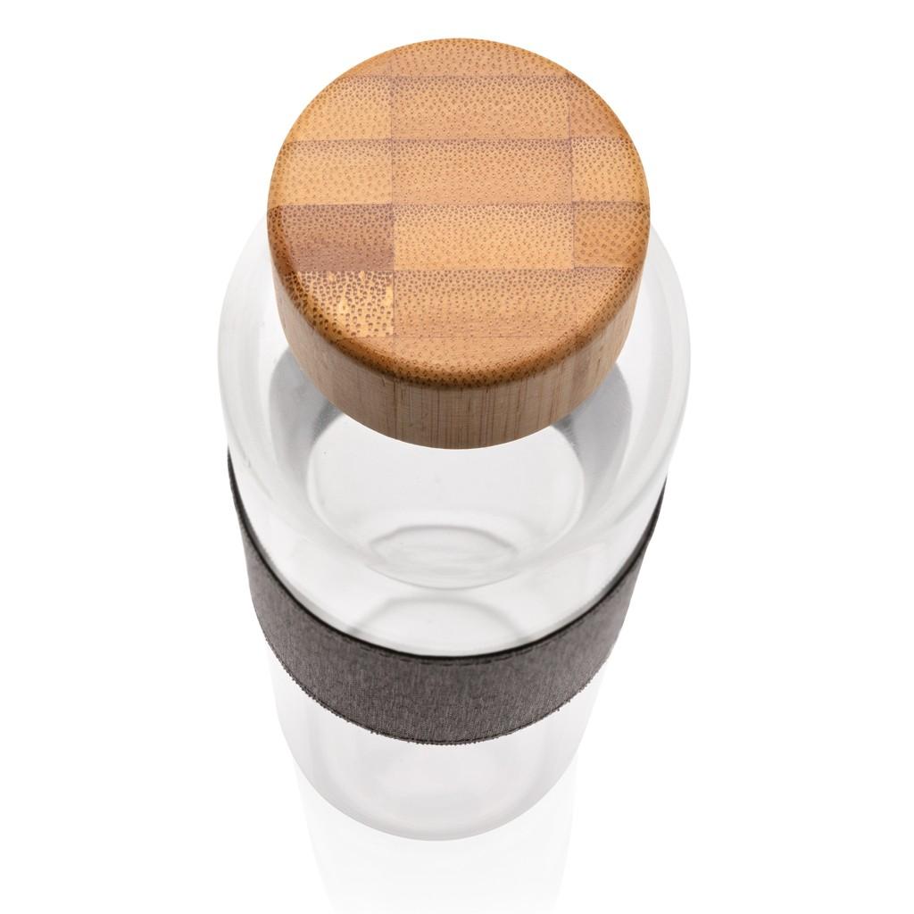 Impact borosilicaat glazen fles met bamboe deksel, View 7