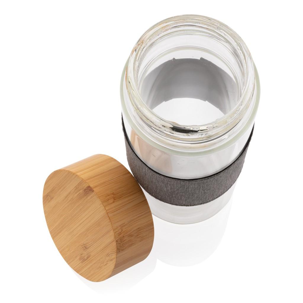 Impact borosilicaat glazen fles met bamboe deksel, View 5