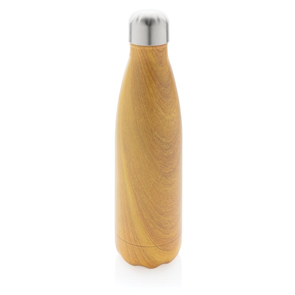 Vacuüm roestvrijstalen fles met houtdessin