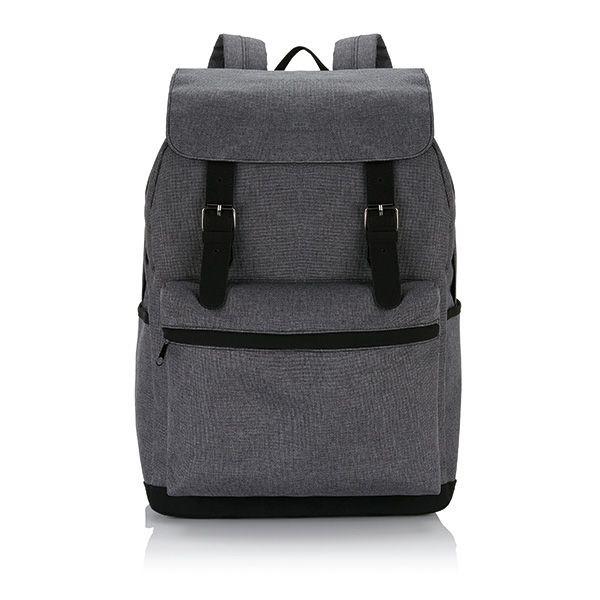 Laptop rugzak met magnetische gesp, grijs/zwart, View 2
