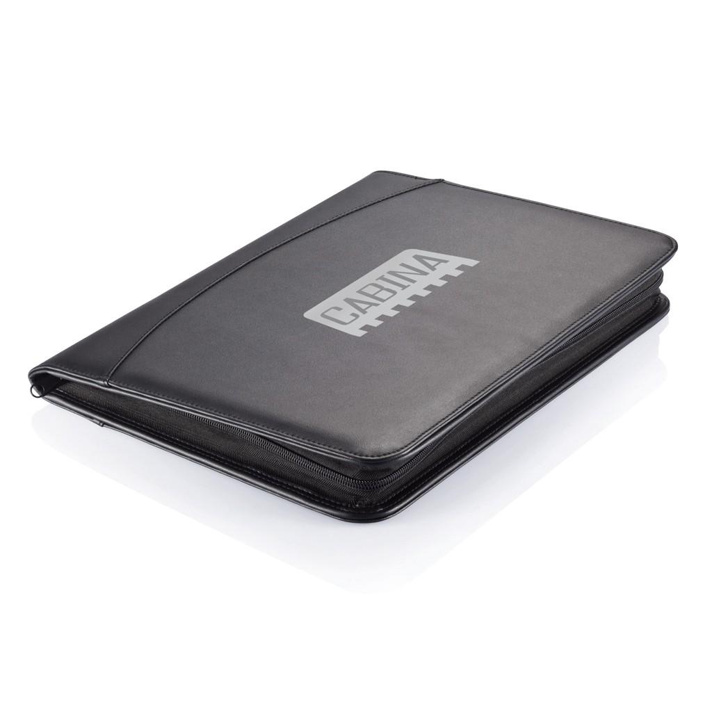 Essential zipper portfolio, zwart, View 8