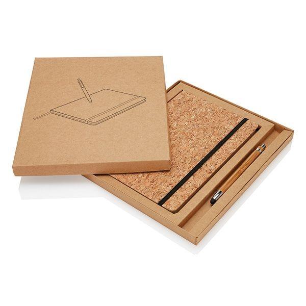 A5 kurken notitieboek incl. touchscreen pen, bruin, View 7