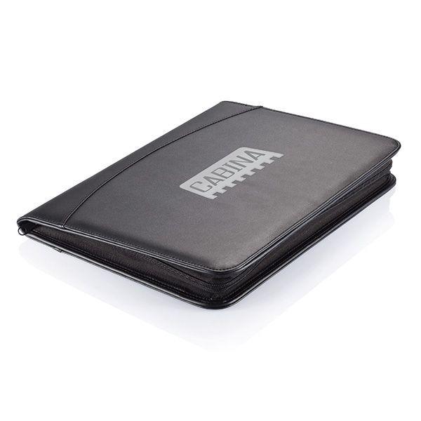 Essential zipper portfolio, zwart, View 2