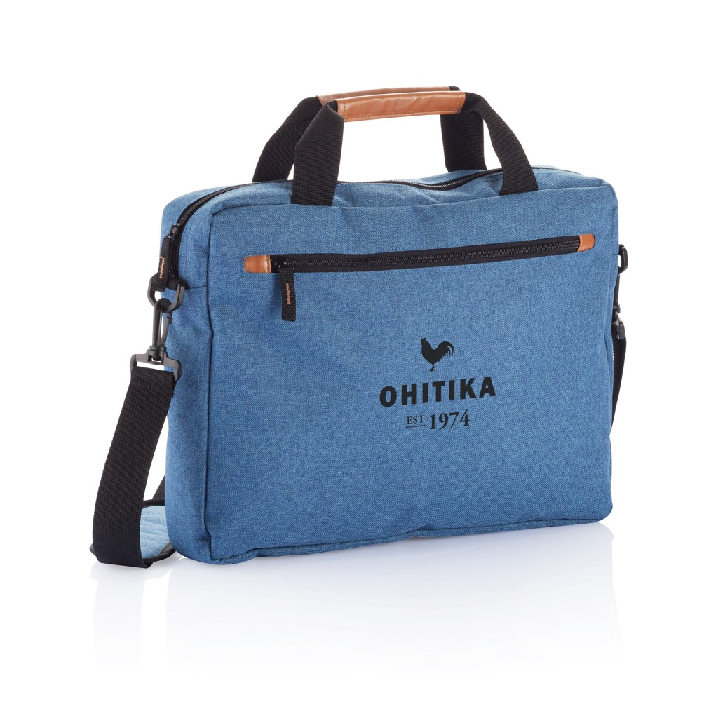 PVC vrije fashion duo tone laptop tas, blauw, View 7
