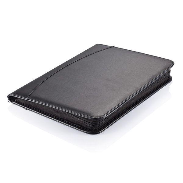 Essential zipper portfolio, zwart