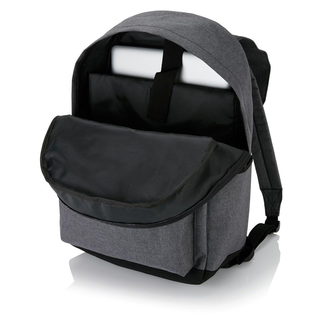 Laptop rugzak met magnetische gesp, grijs/zwart, View 9