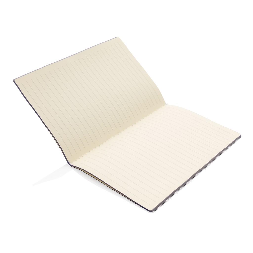 Softcover PU notitieboek met gekleurde accent rand, View 3