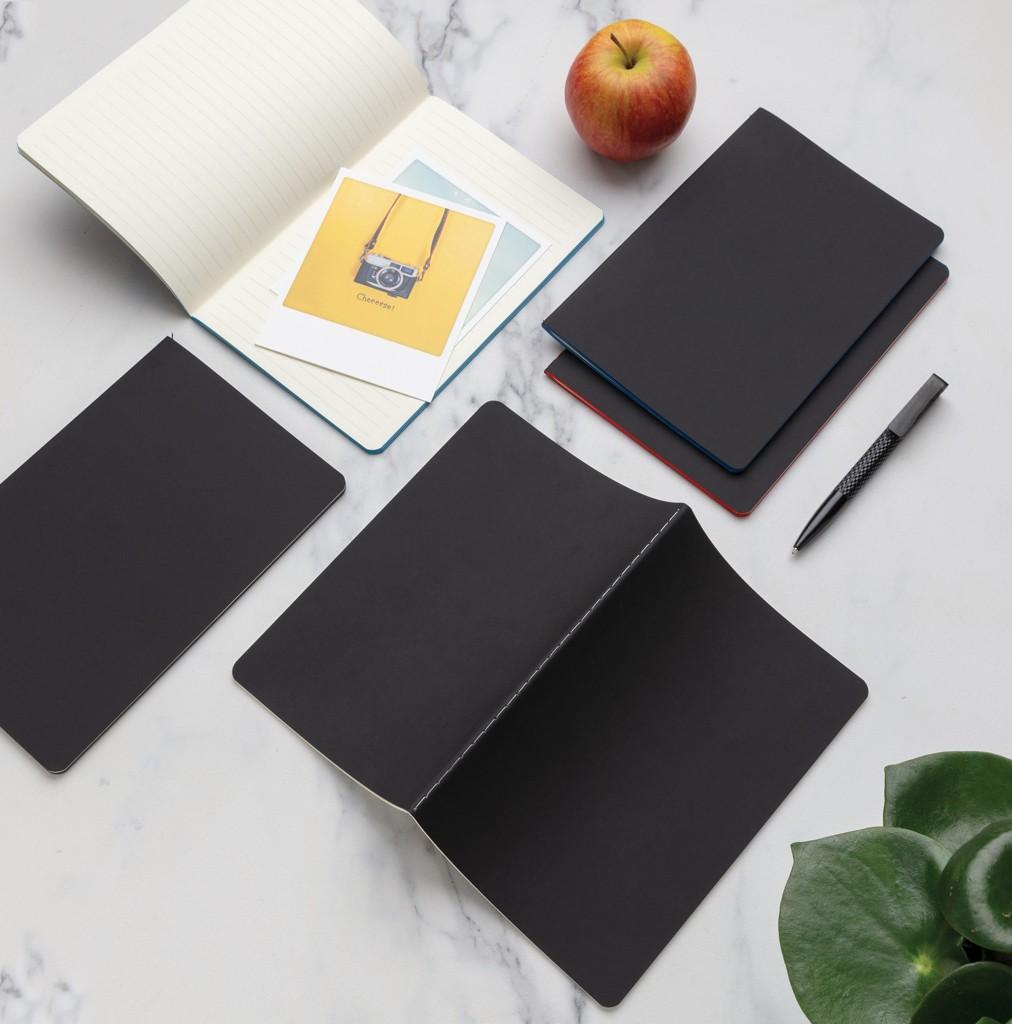 Softcover PU notitieboek met gekleurde accent rand, View 6