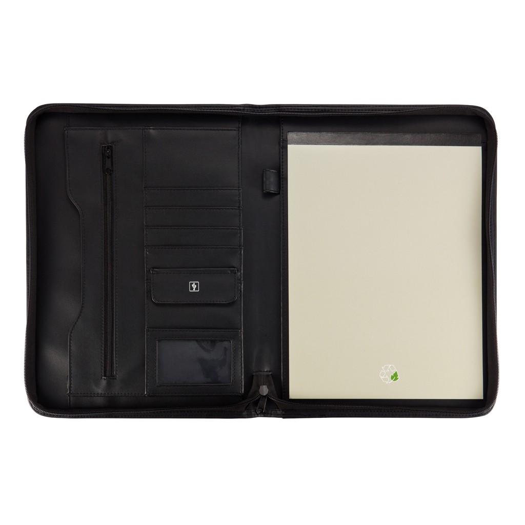 Essential zipper portfolio, zwart, View 6