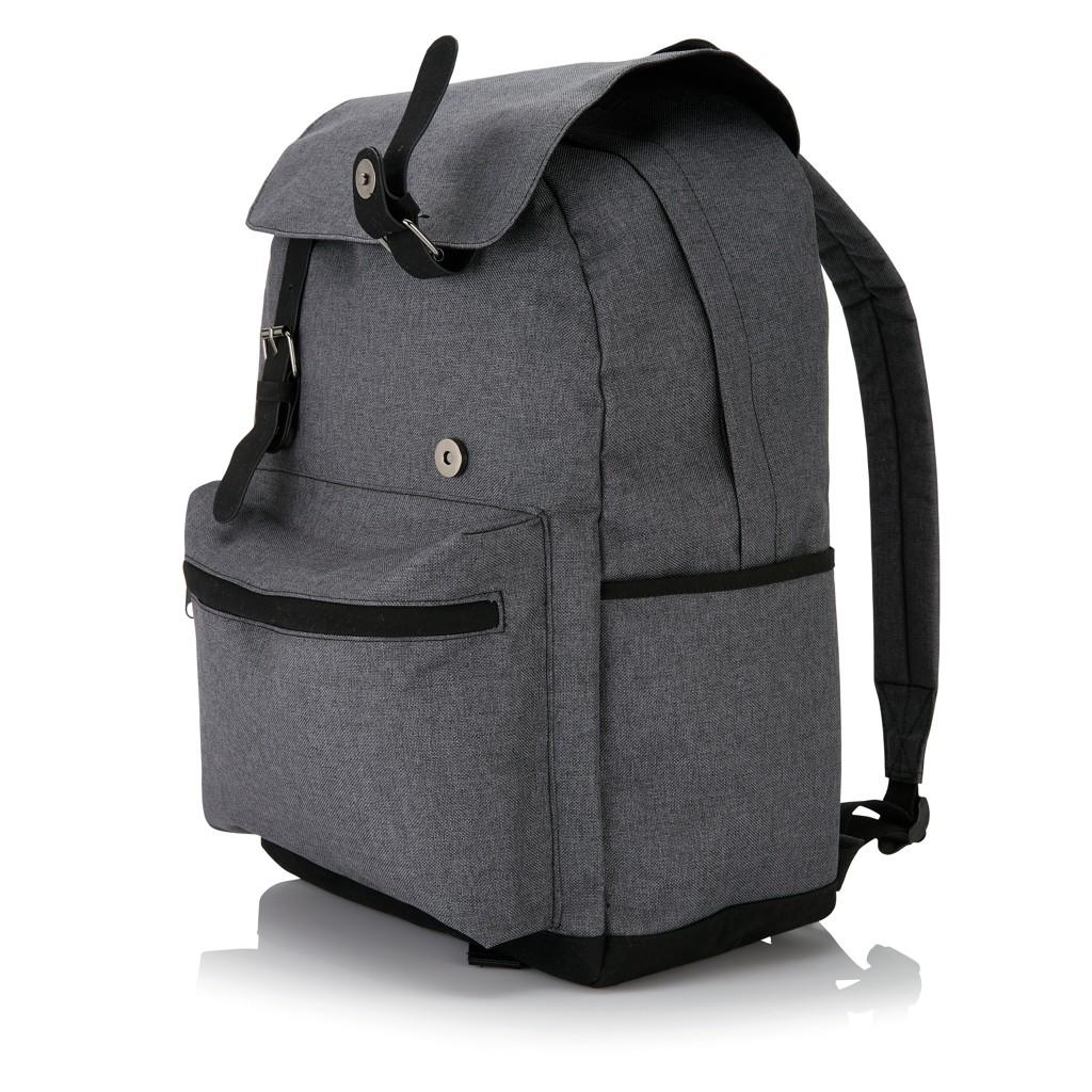Laptop rugzak met magnetische gesp, grijs/zwart, View 8