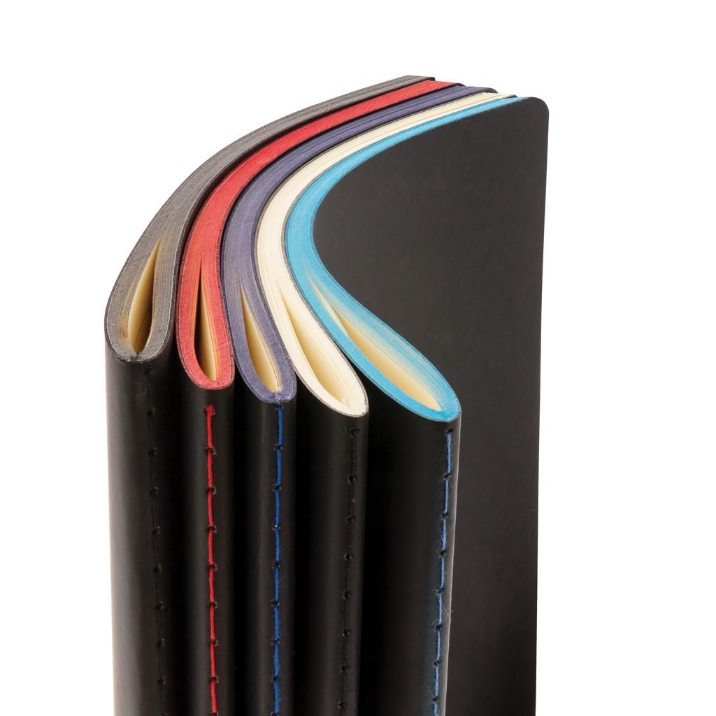 Softcover PU notitieboek met gekleurde accent rand, View 5