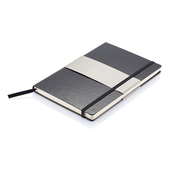 A5 rechthoekig hardcover notitieboek, zwart, View 2
