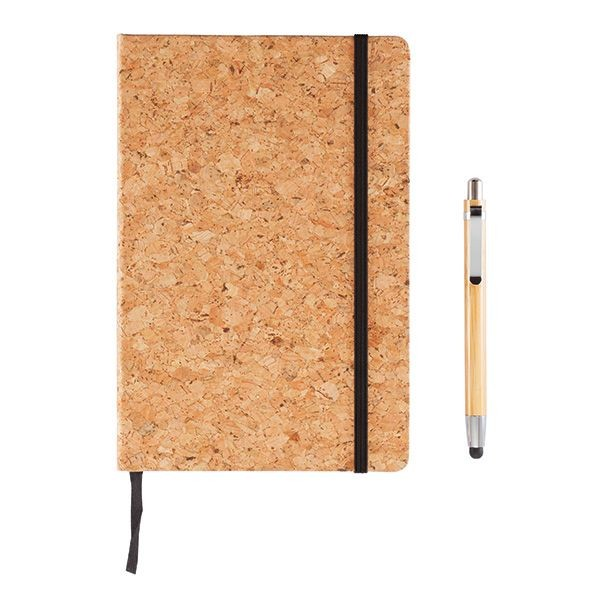 A5 kurken notitieboek incl. touchscreen pen, bruin, View 6