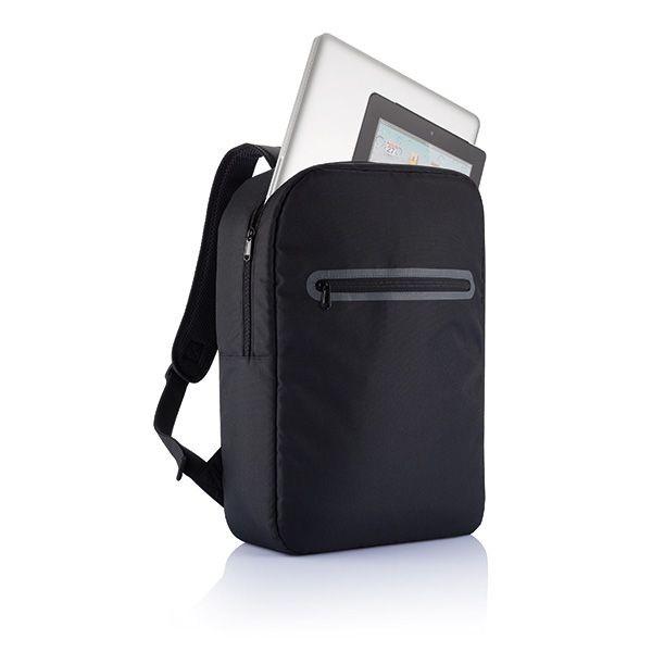 London PVC vrije laptop rugtas, zwart, View 2