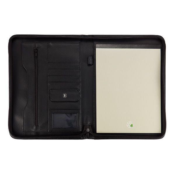Essential zipper portfolio, zwart, View 3