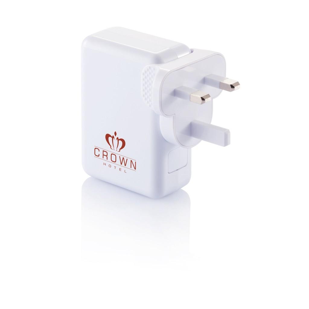 Reisstekker met 4 USB poorten, wit, View 12