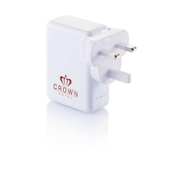 Reisstekker met 4 USB poorten, wit, View 2
