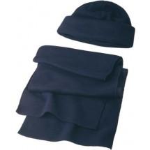 Muts en sjaal van fleece 'Salzburg' - blauw