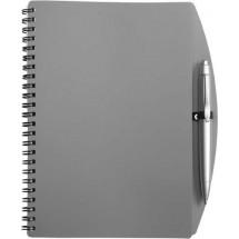 Notitieboekje (A5) incl. plastic balpen 'Spektrum' - grijs