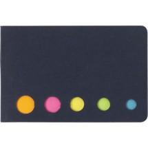 Memoboekje met 5 verschillende kleuren 'Sticker' - zwart