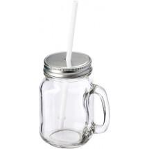 Glas met rietje 'Retro' - transparant