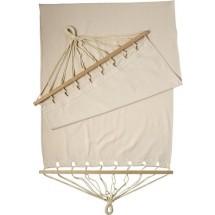 Polyester canvas hangmet met houten onderdelen - kaki